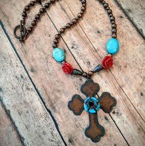 Jewelry - Nwt Handcrafted Copper Patina Cross Necklace